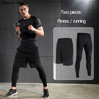 2017Men S Sports Tights Trousers Running Trousers Quickcuts Basketball Leggings Compression Elastic Fitness Pants Two Piece