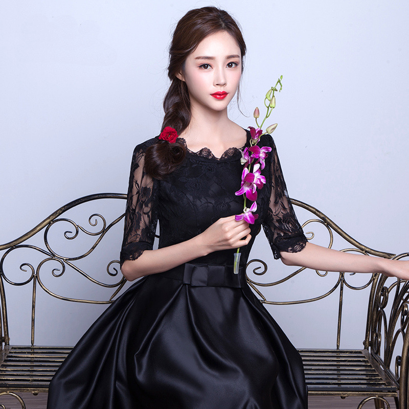 Chinese Women Formal Party Qipao Noble Black Lace Cheongsam Elegant Flower Host Vestidos Wedding Bridesmaid Dress Size XS-XXL