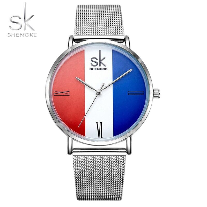 Shengke Watches Women 2018 Fashion Stainless Steel Band Ladies 3 Colors Wrist Watch MILAN Street Snap Luxury Female Jewelry