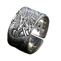Bahamut Dragon Ring Sterling Silver Vintage 925 Silver Men Jewelry Open Ring China Dragon