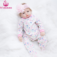 UCanaan 55cm 22'' Silicone Reborn Dolls Handmade Lifelike New Born Doll Realistic Soft Vinyl Cloth Body Child Growth Partner
