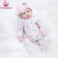 UCanaan 55cm 22'' Silicone Reborn Dolls Handmade Lifelike New Born Doll Realistic Soft Vinyl Cloth Body Child Growth Partner