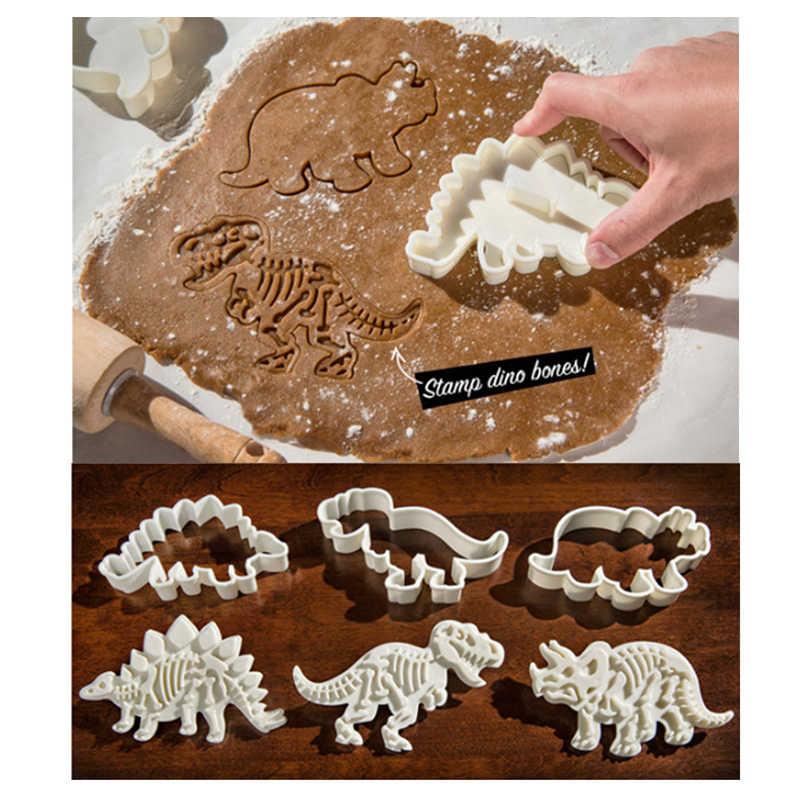 3D Dinosaurus Cookie Cutter Cetakan Dinosaurus Biskuit Embossing Cetakan Sugarcraft Dessert Baking Cetakan Silikon untuk SOP Alat Dekorasi Kue