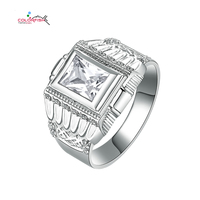 1 50 Ct Bezel Set Simulated Sona Diamond Ring Men Authentic Sterling Silver Ring Art Deco