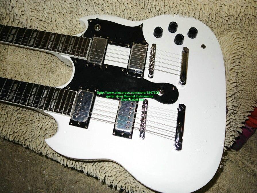 Белый двухгрифовая гитара Custom Shop двойной электрическая гитара Новое поступление оптовая продажа гитары s