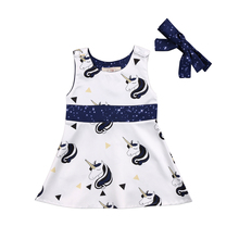 2018 Cute Unicorn Princess Dress Sleeveless Newborn Baby Girls Party Wedding Dress+Headband Cute Belt Set