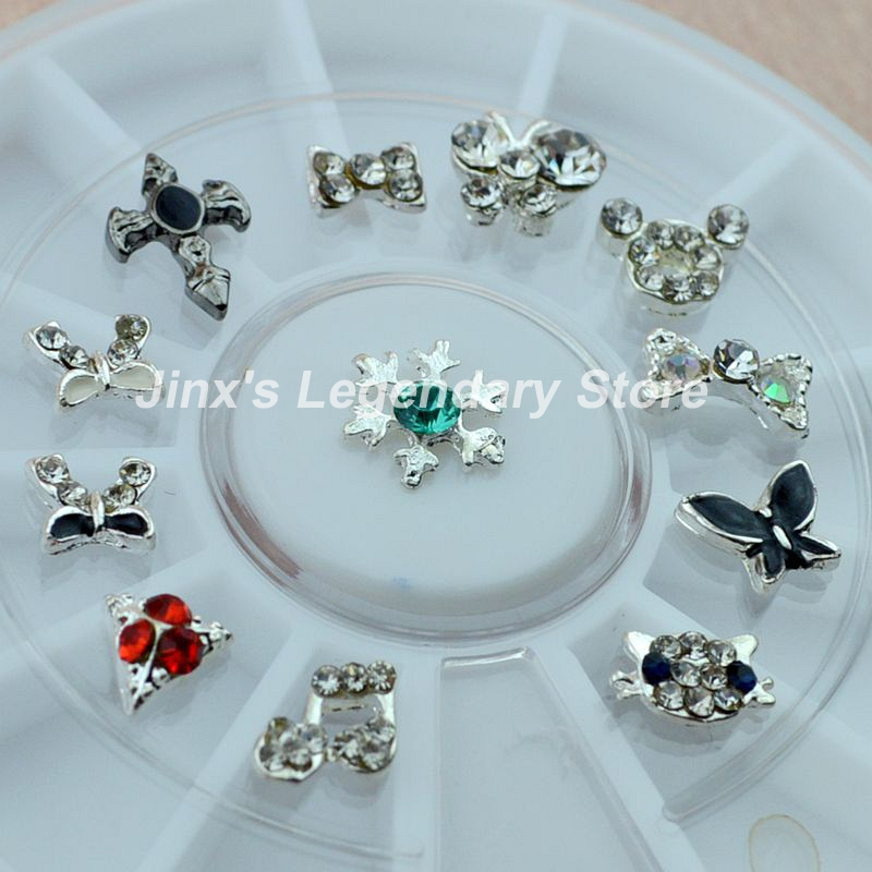 2018 new nail art wheel Alloy 12 pieces 3D nail art decoration Phone ...