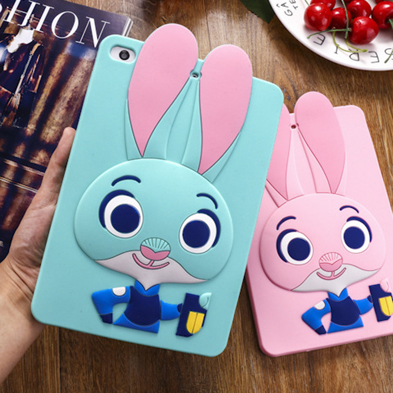 Tablet Case For ipad 2017 9.7 inch Cute Cartoon Rabbit Kids Shockproof Silicone Rubber Stand Back Cover For ipad 2018 Case  (1)