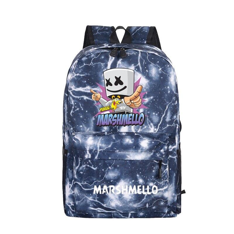 2019 Dj Marshmello Dotcom Cartoon Frauen Rucksack Galaxy Design Reise Rucksack Laptop Rucksack Leinwand Schule Taschen Mode Rugzak PüNktliches Timing