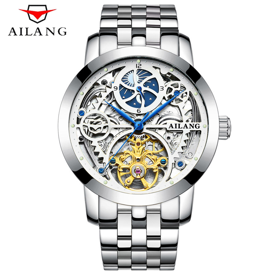 Sports Men's Tourbillon Mechanical Watch Steel Band Skeleton Watches Automatic Business Mens Watch Top Brand Luxury Clock forsining mens watch top brand luxury tourbillon militarysport watch male business skeleton watches automatic mechanical watches