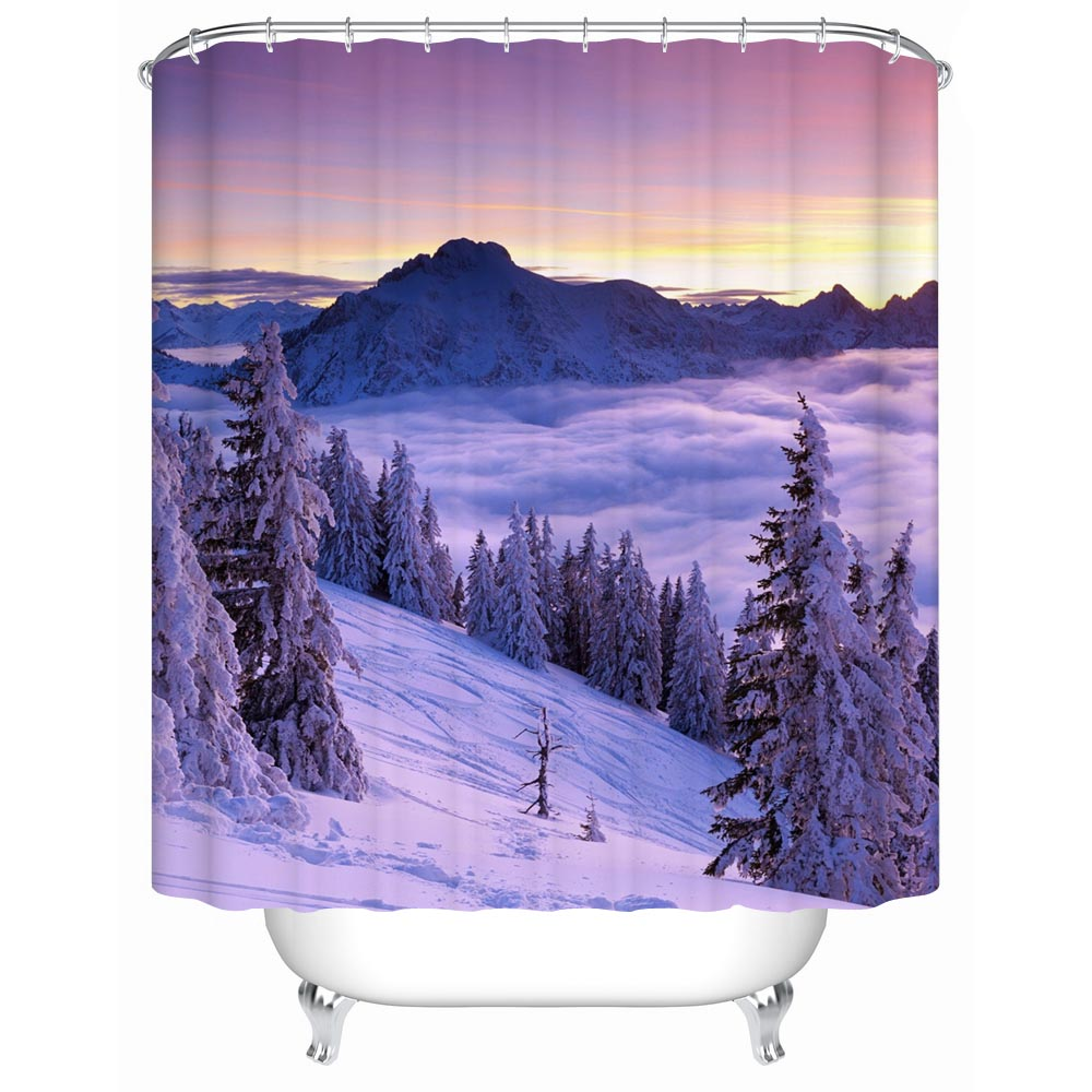 charmhome bathroom products new snow mountain views shower curtains bathroom curtain waterproof shower curtain