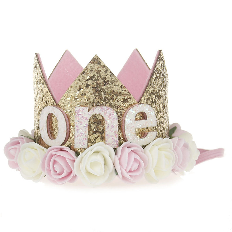 Artificial Delicate Mini Felt Glitter Crown With Flower Headband For Birthday Party Diy Garments Hair Decorative Accessories #4
