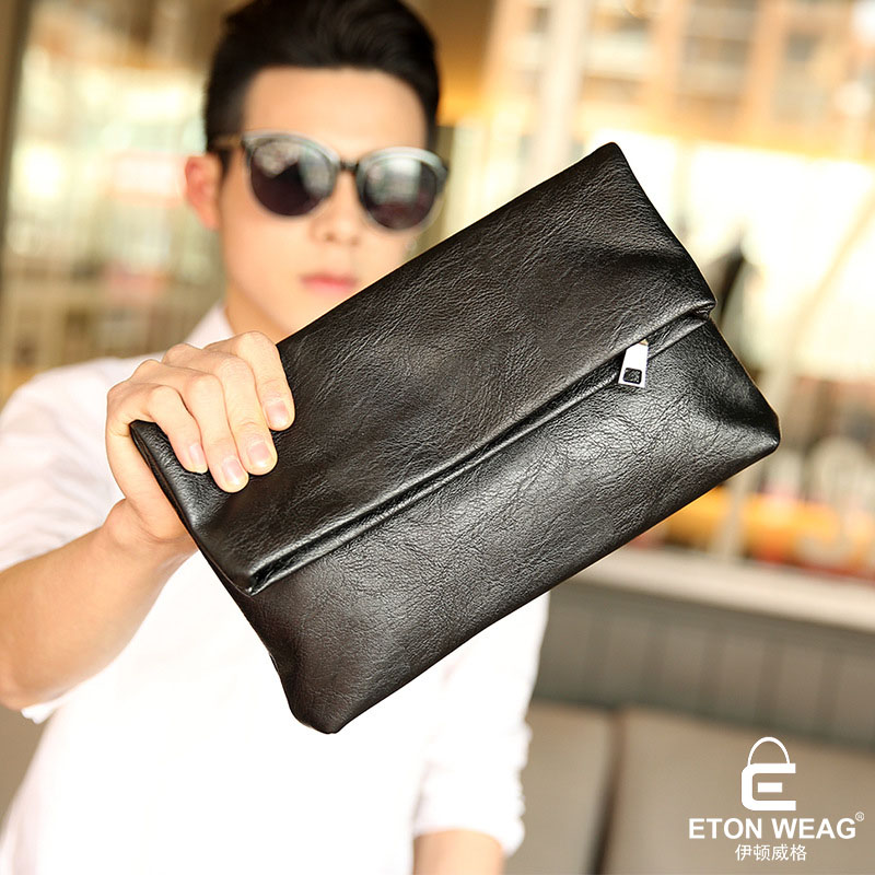 ETONWEAG Famous Brands Cow Leather Womens Wallets And Purses Black Zipper Women Clutch Bags Travel Wristlet Organizer Wallet