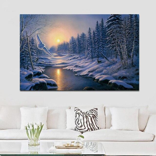 Hibou Blanc Peinture Hiver Forêt Lever Du Soleil Nature Paysage