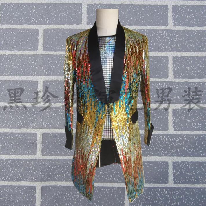 England Men Suits Designs Stage Costumes For Singers Multicolor Sequin Blazers Mens Dance Clothes Jacket Star Style Dress Punk