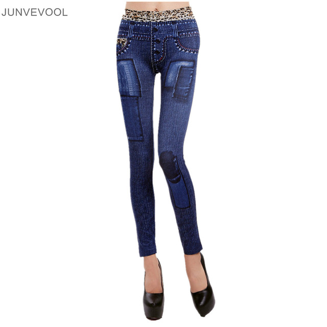 049674abbbc2d Women Jeggings Fashion Denim Pants for Women Beautiful Girl Print Seamless  Patch Print Leggings Elastic Trousers New Arrival