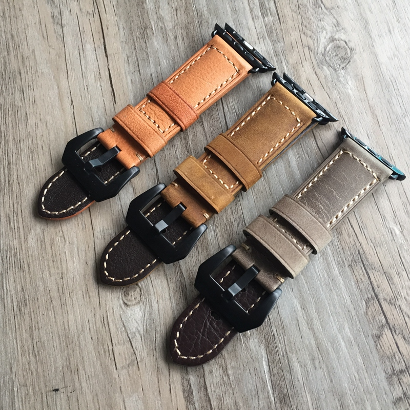 high quality handmade Retro Leather band 38mm 42mm for apple watch series 1 2 strap for iwatch Genuine Leather Watch strap belt  high quality black color leather 38 42mm width apple watch strap band for apple watches