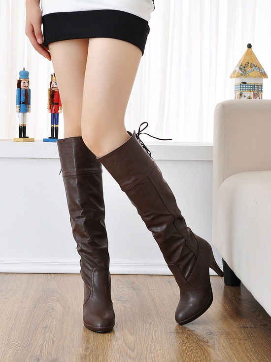 016 New Fashion Woman Knee High Boots Platform Lace-up Closed Toe Stiletto High Heels Office & Career Shoes