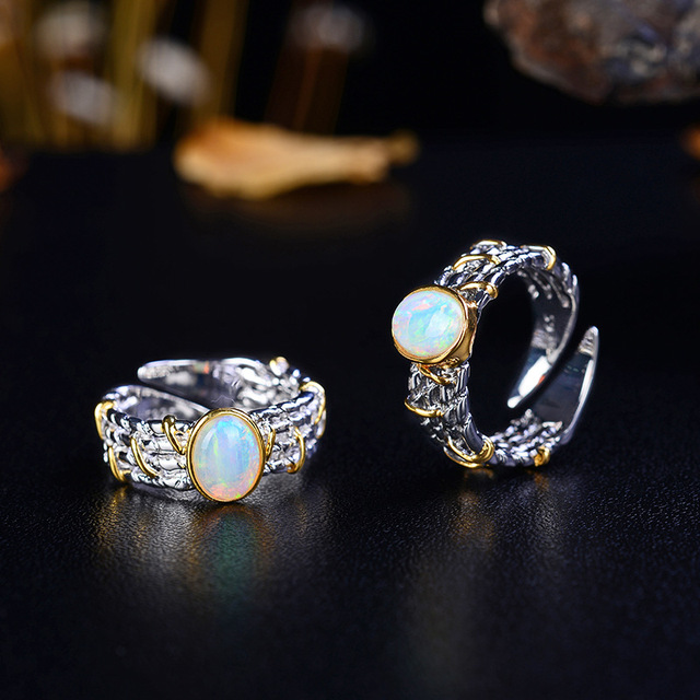 Retro Thai Silver Jewelry Creative Design Natural Blue Opal S925 Sterling Silver Inlaid Colored Gemstone Open Ended Ring