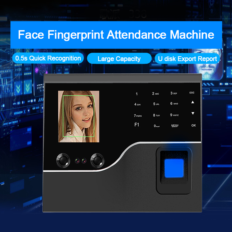 OULET Biometric Face Recognition Fingerprint Time Attendance System TCP IP USB Access Control System Clock Recorder