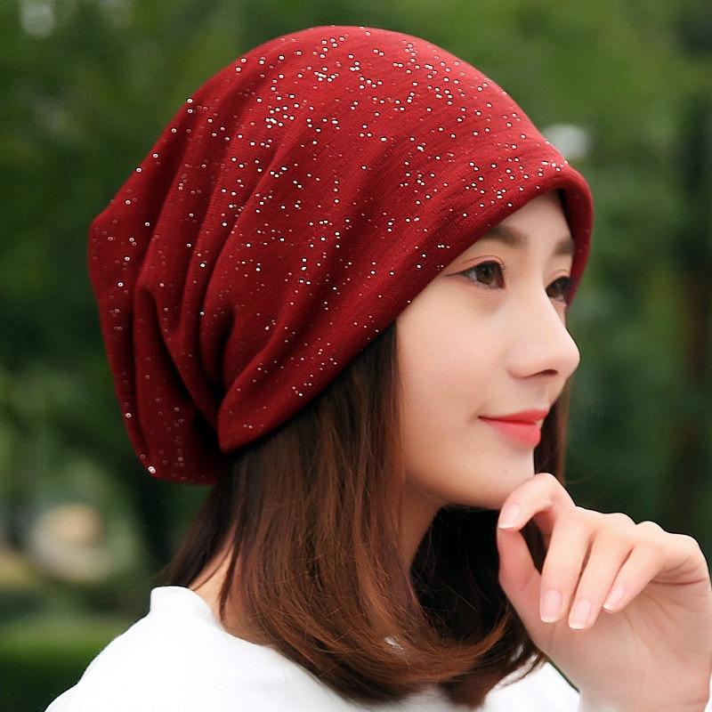 Winter Autumn   Beanie   Hats Women Soft Knitting   Skullies     Beanies   Hat Female Fashion Bling Cotton Cap Bonnet Hat Scarf Mask Bonnet