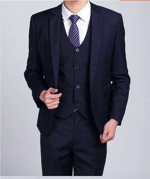 Cheap Men Navy Suits Slim Fit Tuxedos Wedding Suits For Men Groomsmen Suits One Button Mens 3 Piece Suit (Jacket+Pants+Vest)