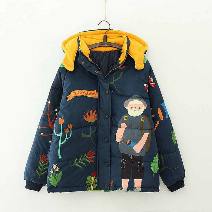 Women Preppy Style Cute Zipper Hooded Jackets Mori Girl Sweet Loose Embroidered Character Pattern Printing Coat Autumn Overcoat casual style head portrait pattern loose hooded fleeces