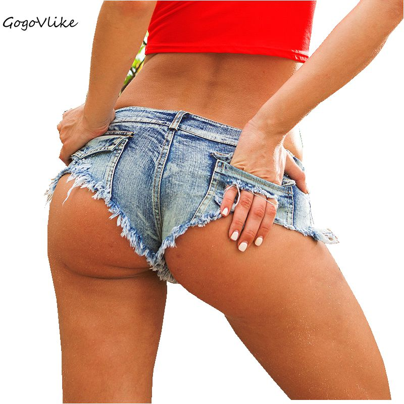 5 farger Sexy Ripped Pocket Pole dance thong Bar shorts Kvinner jeans denim Micro Ultra Low Waist Clubwear cortos mujer DK037S30