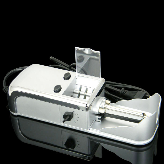 New 1pcs metal Silver Electric Cigarette Rolling machine Roller Automatic Injector DIY Tobacco Maker cigarette filter