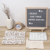10x10 Inch Felt Letter Board With Letters DIY Wood Board Sets Message Board For Craft Classroom Restaurant Announcement Bar Cafe