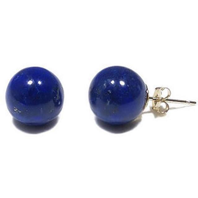 Whole Natural Jewelry 8 Mm Lapis Lazuli Stud Earrings 925 Silver Studs For Women Cute Korean