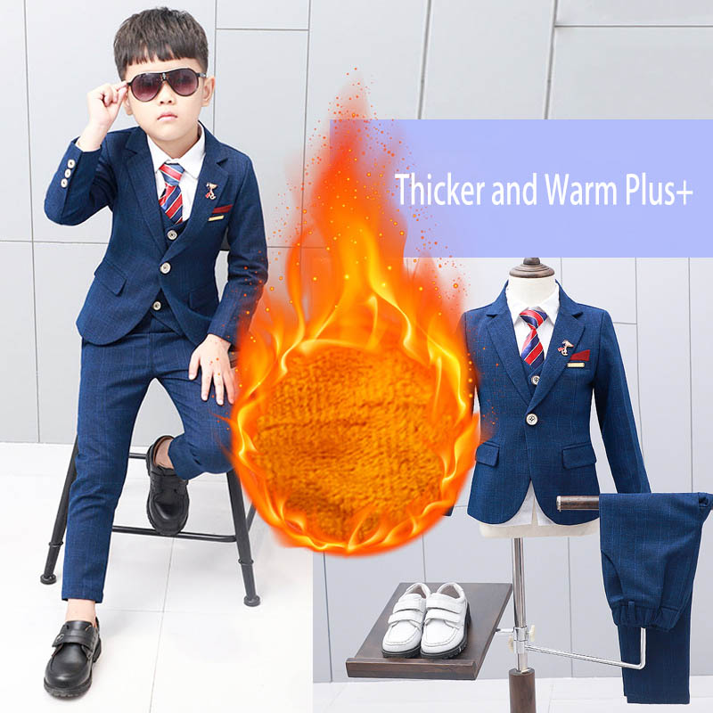 все цены на 5pcs Winter Kids boys suits blazers thicker warm plus children suit boy blue plaid blazer party clothes wedding suits for boys