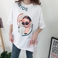 Shuchan Streetwear Loose Character T shirts For Women New 2019 O neck Short Sleeve Harajuku tops female Summer T shirt Women