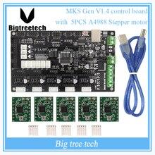 МКС Gen V1.4 управления совета Мега 2560 R3 платы RepRap Ramps1.4 совместим с USB и 5 ШТ. A4988 Для 3D принтер