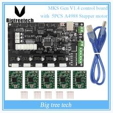 MKS Gen V1.4 Mega 2560 R3 motherboard RepRap Ramps1.4 tablero de control compatible con USB y 5 UNIDS A4988 Para 3D impresora