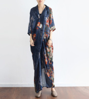 Floral Printed Summer Chiffon Silk Dress Vintage Half Sleeve Cross Party Vestidos de Festa Summer Style Maxi Dresses Robe Femme
