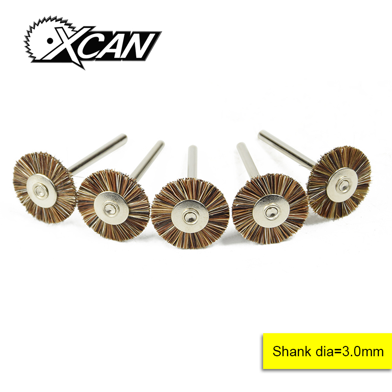 XCAN 5pcs T Style Brown Flat Wheel Brush 3.0mm Shank Rotary Tools Set