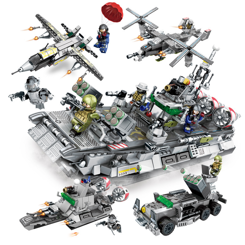 701pcs 4in1 Children's building blocks toy Compatible Legoingly city Maritime combat troops DIY figures Bricks birthday gifts-in Blocks from Toys & Hobbies    1