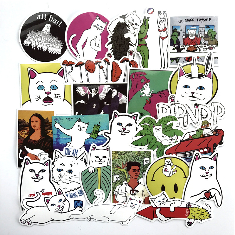 2018 50Pcs/lot Ripndip Stickers Decal For Snowboard Luggage Car waterproof Fridge Car- Styling Laptop Stickers