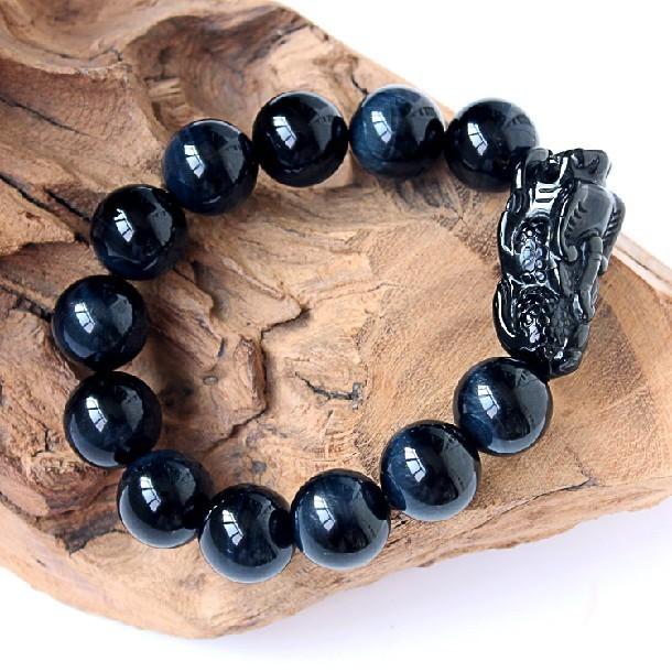 Azul Tiger Eye pulseira Feng Shui riqueza Pixiu jóias pulseira sorte Piyao pulseira
