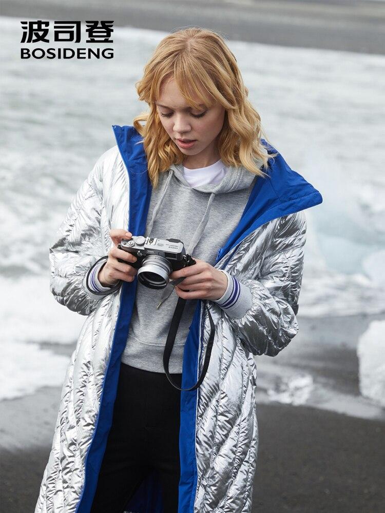 BOSIDENG 2018 nuovo stile di inverno lungo giù cappotto delle donne In Metallo argento blu rivestimento della chiusura lampo impermeabile di alta qualità di modo B80132112-in Piumini lunghi da Abbigliamento da donna su  Gruppo 3