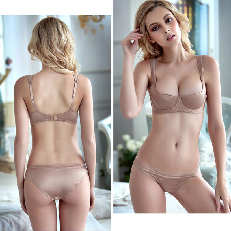 0813c8426 Wriufred Half-Cup Bra Set Smooth Thin Cotton Women Sexy Bras and Panties  Set Plus Size ABCD Underwear Lingerie Ladies Brassiere