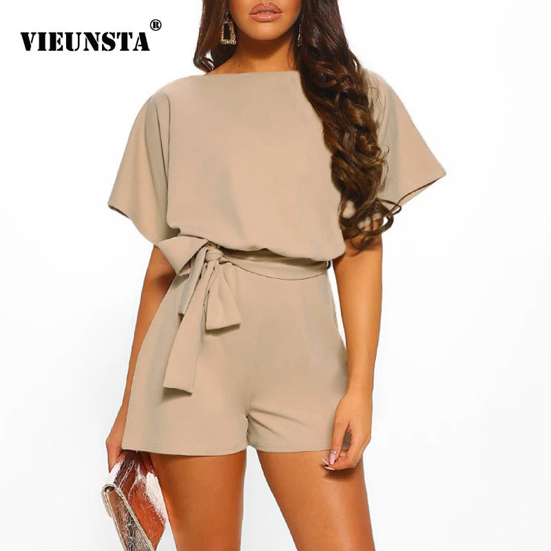 VIEUNSTA Summer Beach Romper Women New Fashion Belted Elegant Office Overalls Casual O Neck Short Sleeve   Jumpsuit   Solid Playsuit