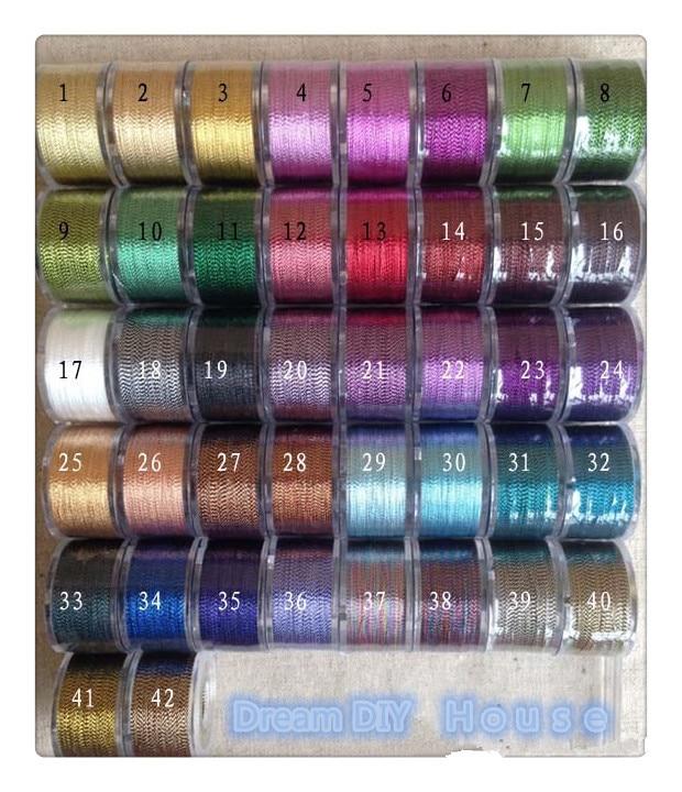 ツ)_/¯Caliente vender 42 diversos colores metálica hilo del bordado ...