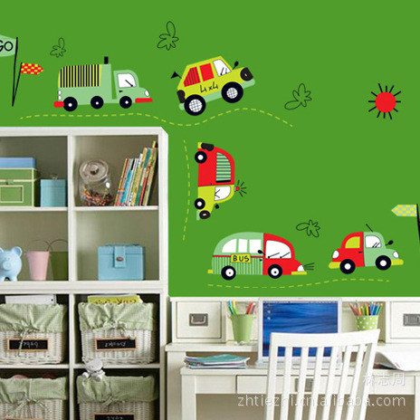 Creative Traffic Racing Cars Wall Stickers Decals Baby Boy Child Bus Truck  Vinyl Wallpaper Kids Rooms Nursery Home DIY Decor In Wall Stickers From  Home ... Part 16