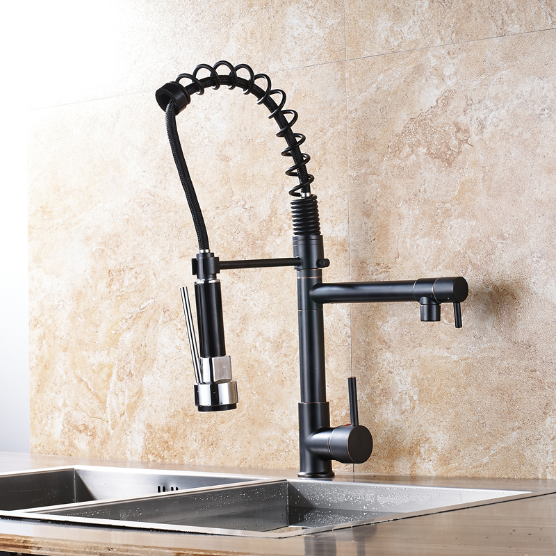 Blacked Spring Basin Faucets Pull out Side Sprayer Dual Spout Single Handle Mixer Tap Sink Faucet 360 Rotation Bathroom Faucets hpb multi function pull out lifting bathroom faucet brass bathroom sink mixer dual pattern spout 360 rotation design hp3048