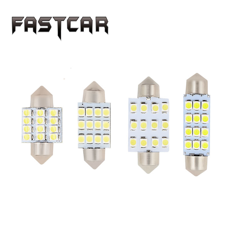 100pcs/lot Car led lamp C5W Festoon 31mm 36mm 39mm 12 LEDS SMD 12SMD FESTOON 3528SMD 1210 C5W 41MM light HK POST free shipping