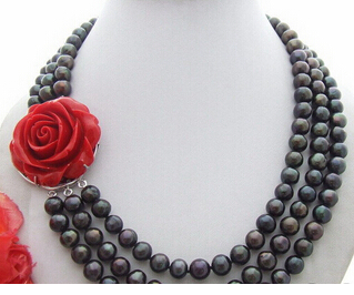 N1207104 10MM Black Pearl Necklace-Flower Clasp>Wholesale Lovely Womens Wedding JewelryN1207104 10MM Black Pearl Necklace-Flower Clasp>Wholesale Lovely Womens Wedding Jewelry