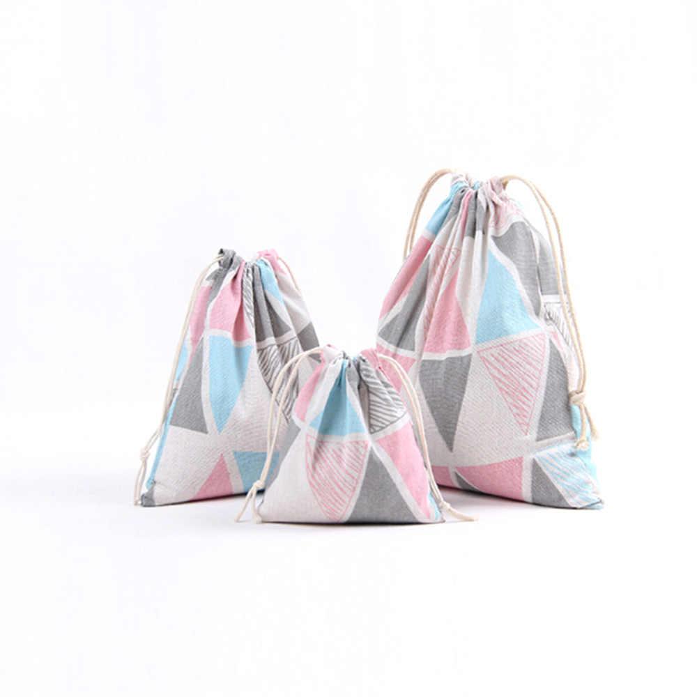 Sundries Shopping Travel Cotton Canvas Drawstring Bag Animal Printed Storage