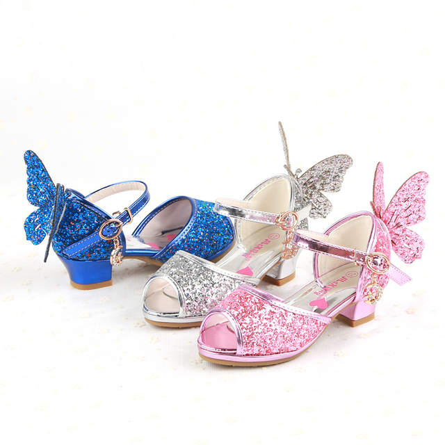 2749a23012b4 Spring Crystal Girls Sandals Butterfly Princess Children Low heel Shoes For Kid  Glitter Sandals fish mouth Autumn Summer-in Sandals from Mother & Kids on  ...